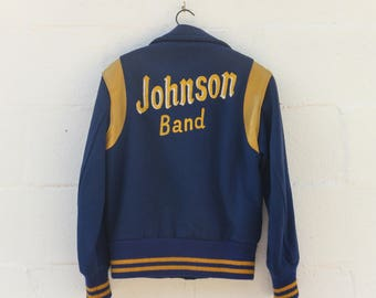 SML | Vintage 1970's Wool Varsity Band Jacket in Blue and Yellow Johnson Band Snap Button Jacket