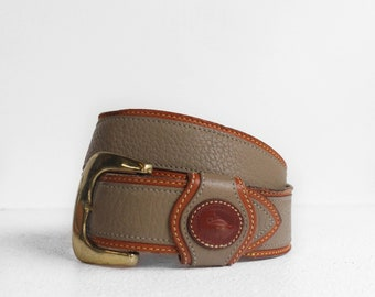 Dooney & Bourke Equestrian Leather Belt in Beige Pebbled Leather with British Tan Trim