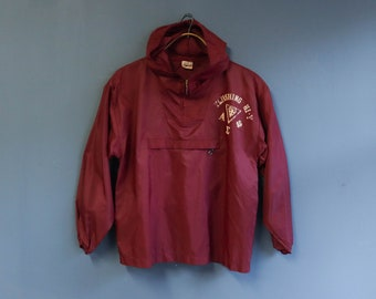 1960's Burgundy Sorority Pullover Windbreaker Rain Jacket