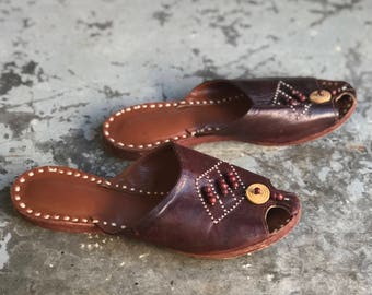 Vintage Brown Leather Beaded Slippers