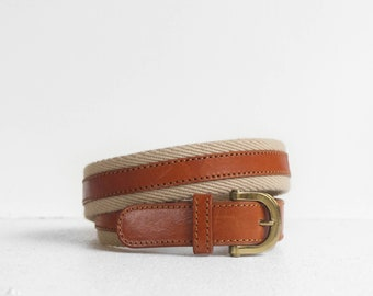 Christian Dior Cotton Twill & Brown Leather Belt size 30