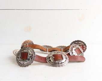 Vintage Brighton Leather Concho Belt
