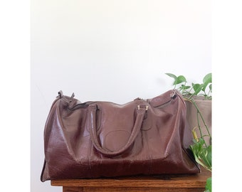 Vintage Chocolate Brown  Leather Duffle Travel Bag