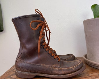 Vintage W. C. Russell Moccasin Co. Moc Toe Hunting Boots