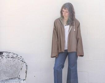 Women's Beige Oversized Linen Hooded Jacket