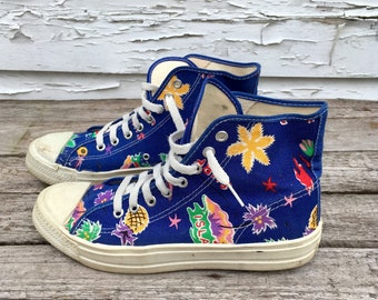 Tropical Themed Vintage Canvas High Top Sneakers Converse Style