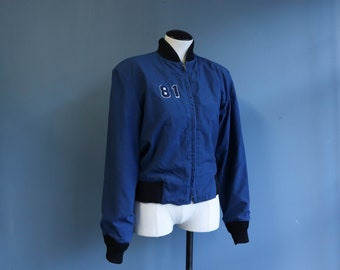 1970's Navy Blue Zip Up Lightweight Jacket