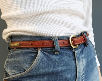 Brown Leather Skinny Belt with Studded Detail