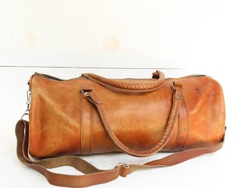 Vintage Leather Duffle Bag 1970s Travel Duffel Bag with Strap