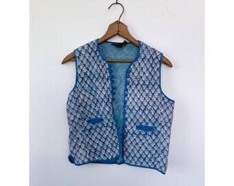 Vintage Blue Quilted Gypsy Vest Prairie Little Women Fashion