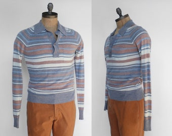 Vintage Long Sleeve Pullover Striped Collared Shirt