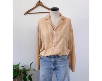 Neutral Flowy Top 1960's Pajama Shirt