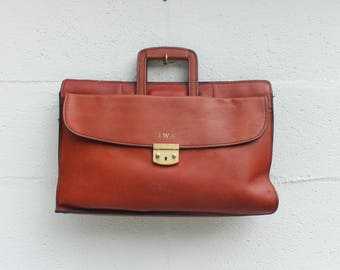Vintage Leather Briefcase Attache  Zip Top Laptop Work Bag in Rusty Brown