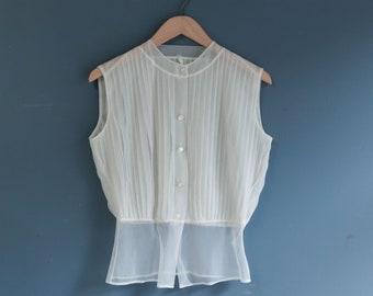 1960's White Sheer Sleeveless Blouse