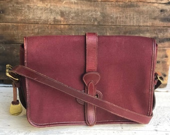 Green Label Dooney & Bourke 1983-1984  Equestrian Handbag in Oxblood Canvas with Leather Trim