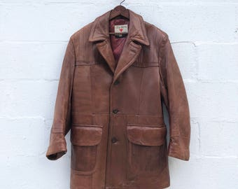 44 | XL | Men's Field and Stream Brown Leather Sports Coat