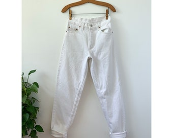 Levis 550 High Waist White Denim Jeans