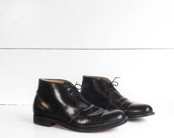 Men's Black Leather Dress Boot 1950's 1960's B.F. Goodrich Heel Caps All Leather Dapper Shoe