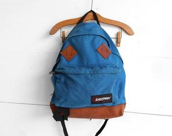 Vintage Eastpak Backpack Blue Nylon Leather Bottom Bookbag Carry All Rucksack