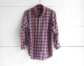 1980's Arrow Chevella Red, White, Blue Men's Plaid Button Up Shirt