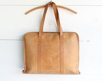 Well Worn Brown Leather Portfolio Case