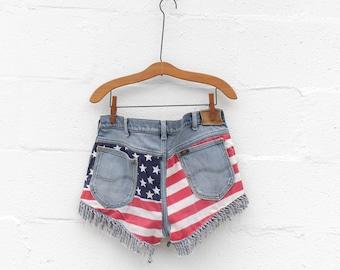 LEE High Waisted Fringe Stars & Stripes Cut Off Shorts