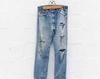 Destroyed & Re-constructed Levi's 505 Orange Tab