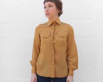 1960's Mustard Yellow Long Sleeve Button Down Blouse