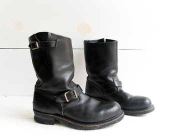 Black Engineer Boots Steel Toe Motorcycle Boots Corded Soles