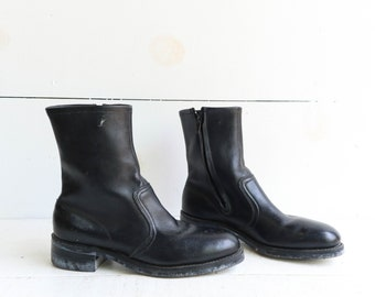 Vintage Hy Test Steel Toe Ankle Boots in Black Leather