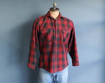 Fieldmaster Outerwear Red & Black Plaid Workwear Button Down Shirt