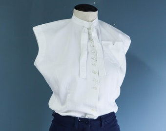 1950's All Cotton White Sleeves Blouse with Neck Tie
