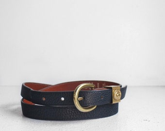 Dooney & Bourke Navy Blue Equestrian Pebbled Leather AWL Belt
