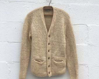 SML | 1960's ALP'S Virgin Wool Cardigan in Cream Color White