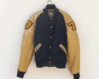 SML 36 | Vinatge Varsity Jacket 1970s Blue and Tan Coat with Lion Patch and Darned Repairs