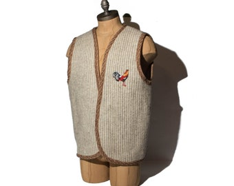 Men's Vintage Wool Vest Ethinic Styled Outerwear Rooster Patch Mountain Gear **Extra Large