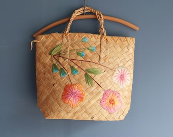 Souvenir Floral Straw Tote Beach Bag