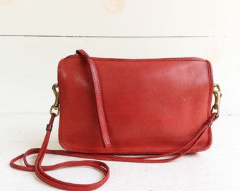 Red COACH NYC Zip Top Leather Clutch Shoulder Bag