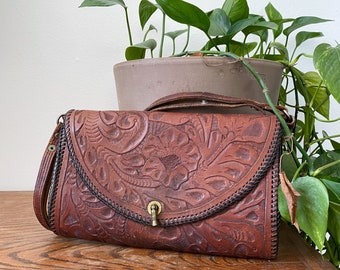 1950s Tooled Leather Bag Purse With Adjustable Handle