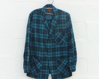 MED | Men's 1960's Pendleton Blue Plaid Wool Blazer Light Weight Jacket