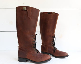 Vintage Avirex B-3 Boots 1970's Military Style Brown Leather Riding Aviation Boots