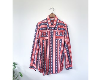 1970's Montgomery Ward Red, White, Blue Stars & Stripes Button Down Shirt