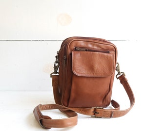 Brown Columbian Leather Mini Crossbody Travel Bag