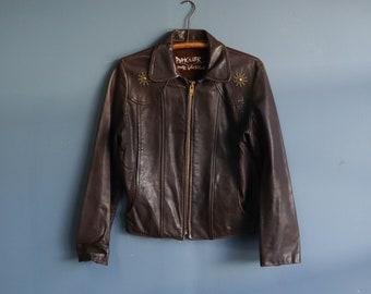 Vintage Leather Jacket with Brass Studs and Talon Zipper