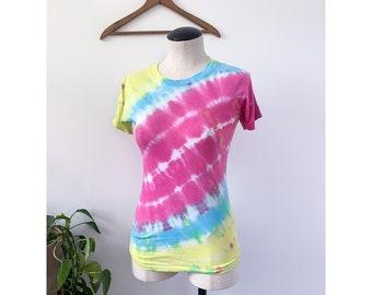 1980's Tie Dye T Shirt Pink, Yellow Blue