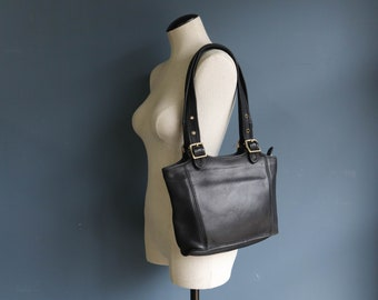 Vintage Coach Legacy Shopper Tote in Black Leather 9086