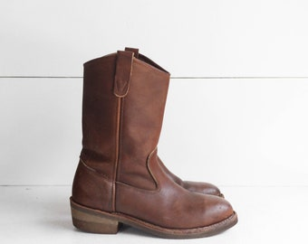 7.5 D | Vintage Steel Toe Work Boots by Iron Age Pull On Ranch Pecos Boots