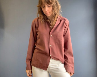 Perfectly Faded Brown Button Up Pajama Shirt size Small
