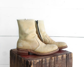 HY-Test Blonde Tanned Leather Steel Toe Zipper Boots size 8.5 D