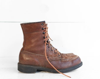 9.5 C (Narrow) | Vintage Wolverine Work Boots Distressed Leather Boots